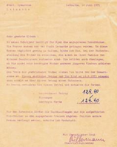 Bücherzettel für das neue Schuljahr 1973
