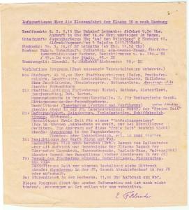 Informationen über die Klassenfahrt der Klasse 10 von Herrn Faßbinder 1973 nach Hamburg