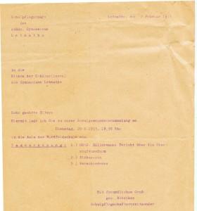Einladung zur Schulpflegschaftssitzung 1973